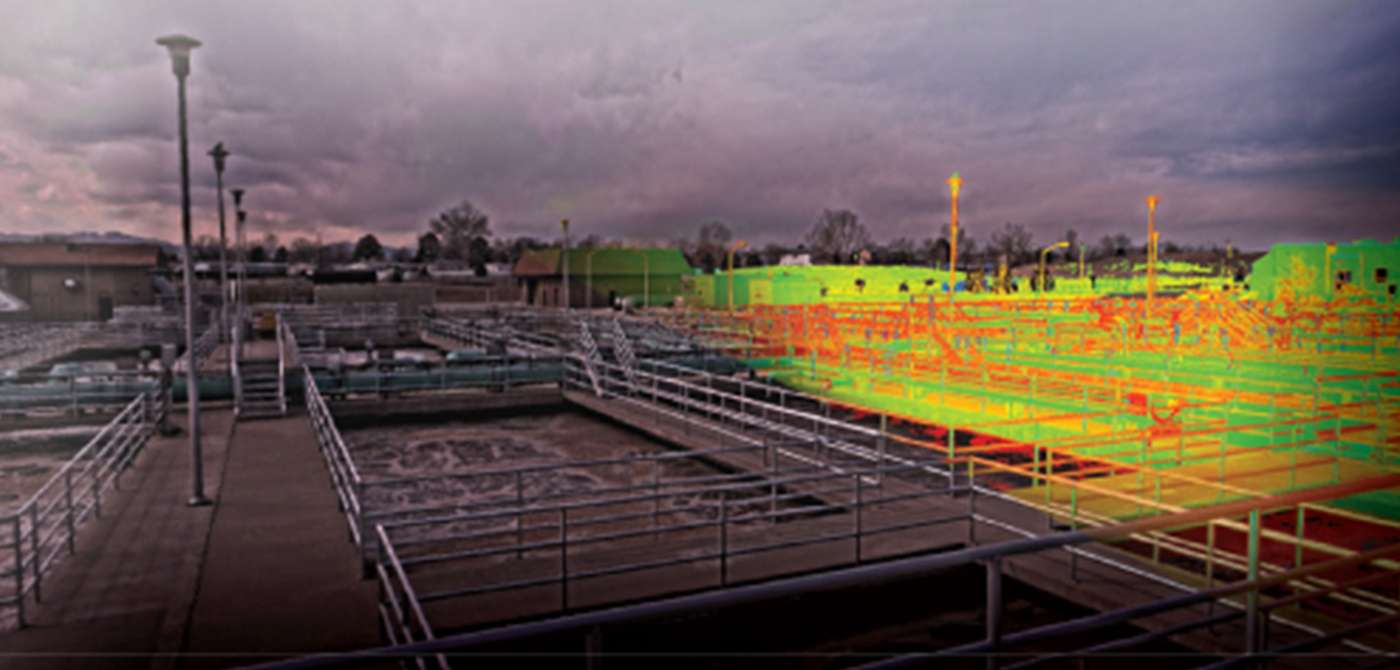 High-definition image merged with a hue-saturated point cloud of a water treatment facility.