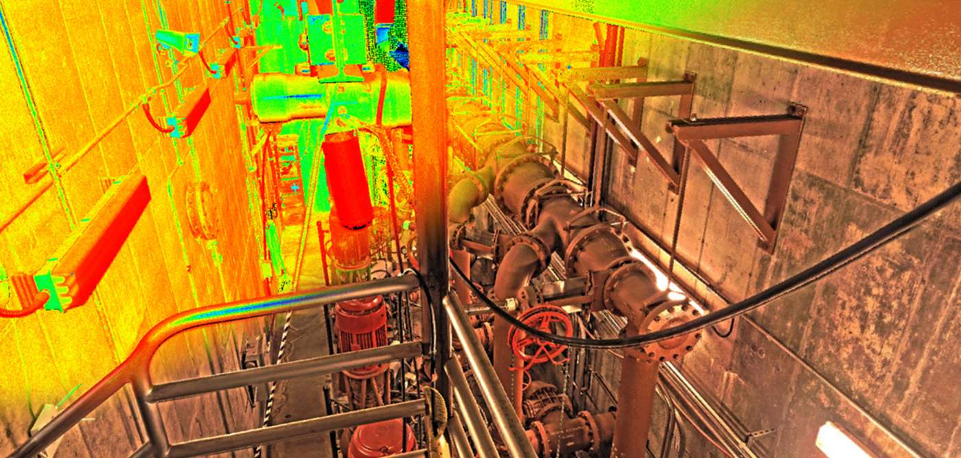 Point cloud merged with an image of piping and valve system that was taken with our scanner.